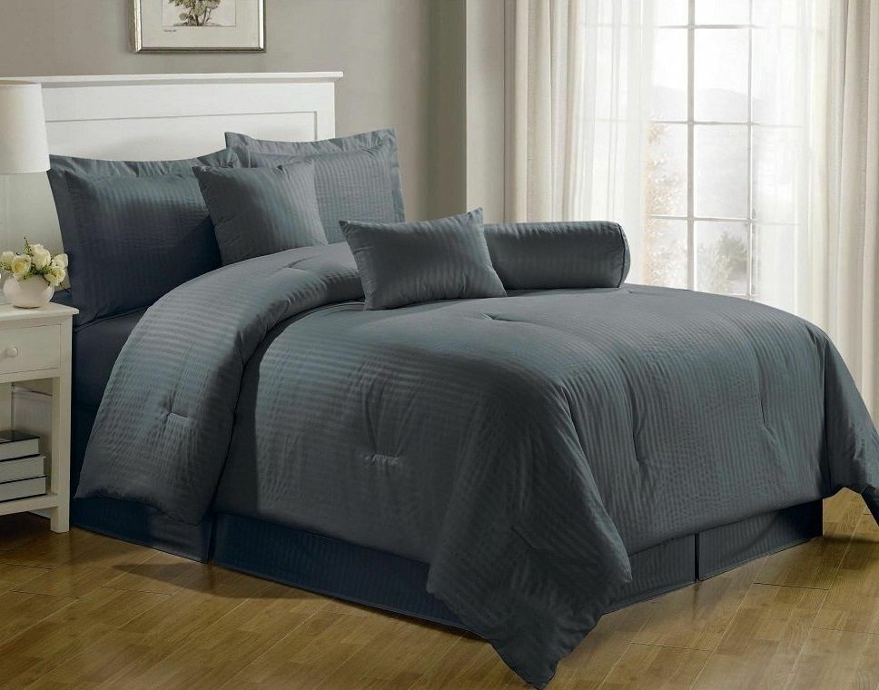 Luxurious 7 Piece Comforter Set King Size Bedding Gray Bedspread Bed In A Bag Ebay