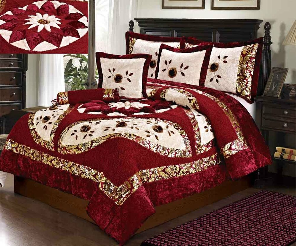 Tache 4 6 Pc Floral Red Cream Festive North Star Velvety