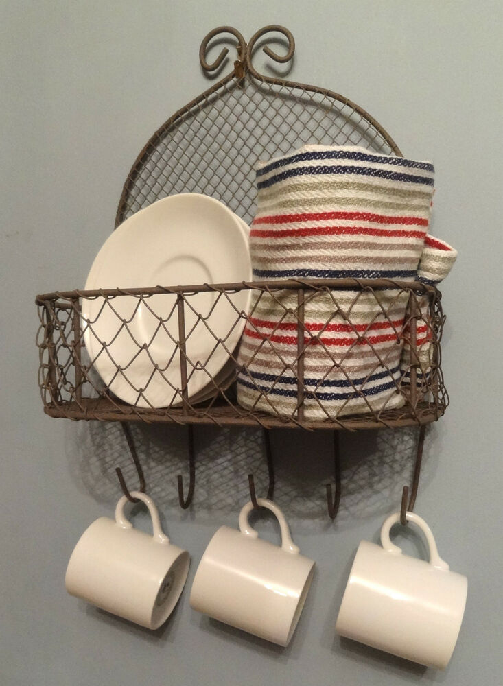 Vintage Style Wire Wall Shelf Basket With 5 Hooks Storage Bathroom Kitchen Ebay