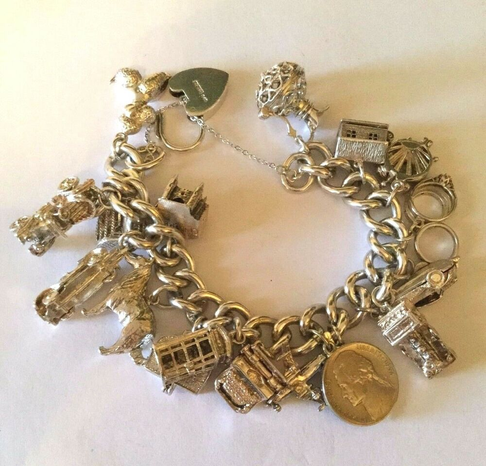 Sterling Silver Charms For Bracelets: Vintage 925 Sterling Silver Charm Bracelet 138 Grams