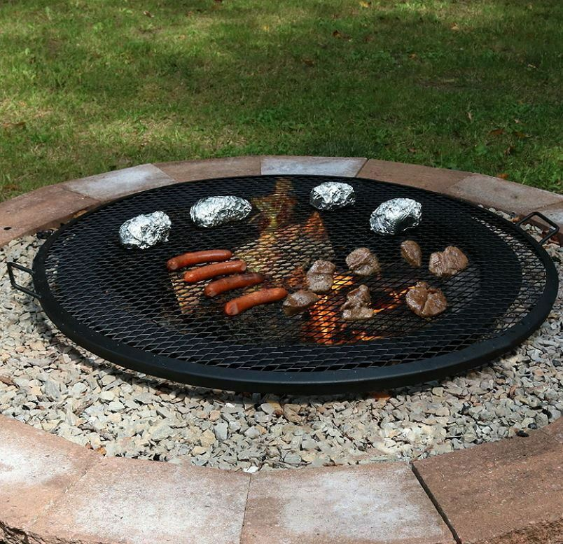 Fire Pit Cooking Grill Outdoor Firepit Round Mesh Grate