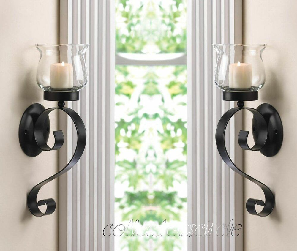 Sconces Wall Holders: SET OF 2 SCROLLING CANDLE WALL MOUNT SCONCE