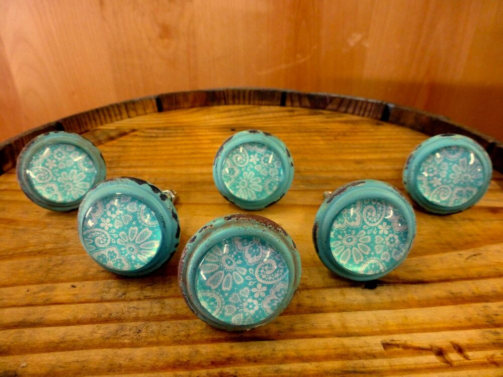 6 Blue White Lace Glass Drawer Cabinet Pulls Knobs Vintage