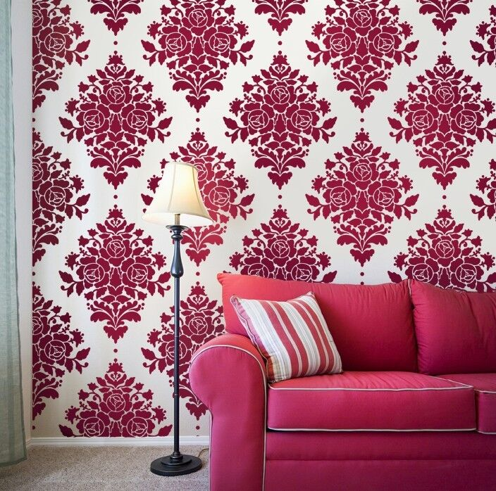 Rose stencil damask reusable wall stencils for diy for Stencil parete cucina