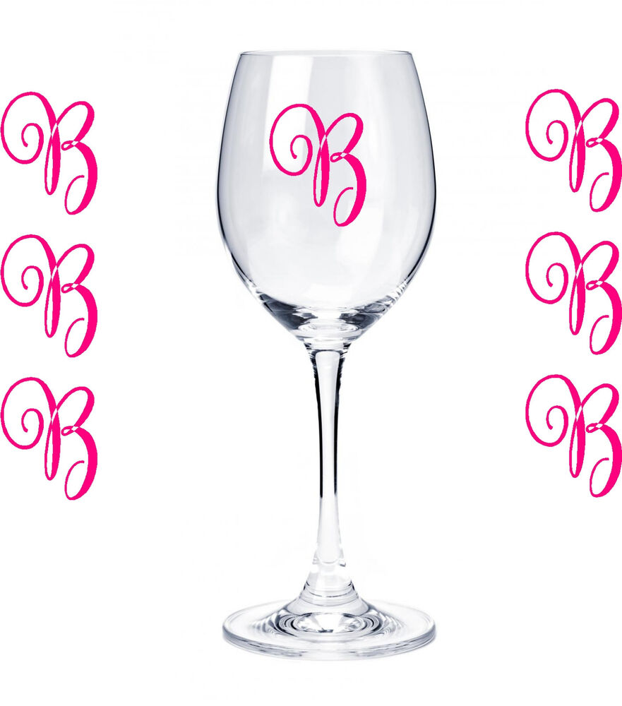 Set Of 10 Monogram Initials Sticker Vinyl Decals Glasses