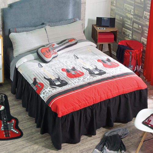 new boys girls gray red music guitars bedspread bedding