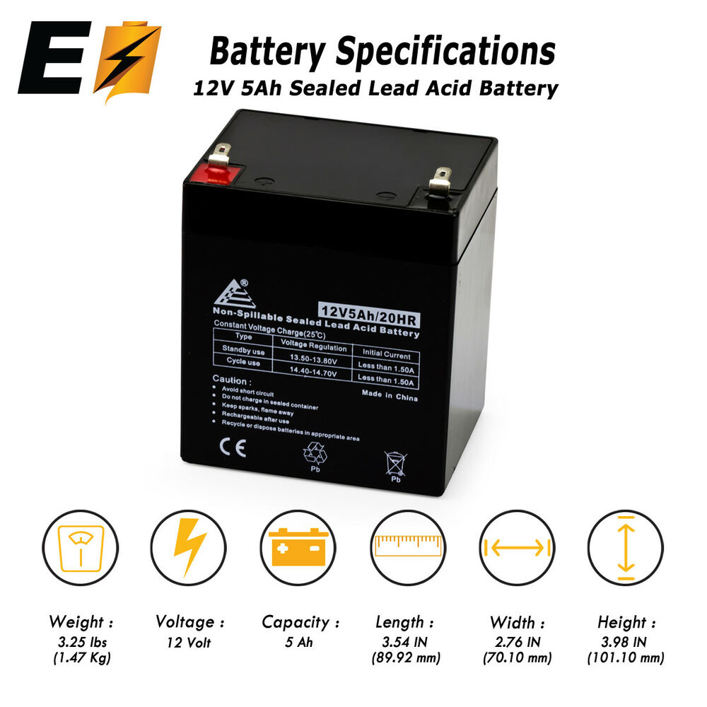 new 12v 5ah sealed lead acid battery for ion block rocker. Black Bedroom Furniture Sets. Home Design Ideas