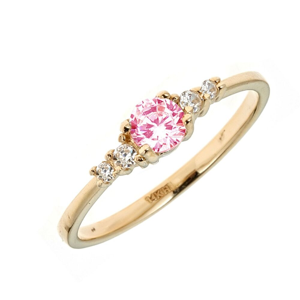 Children 39 S 14k Solid Yellow Gold Pink White Cubic Zirconia