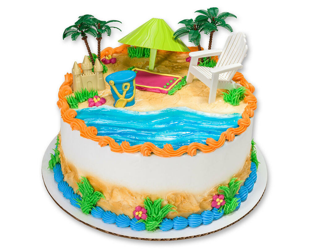 Edible Cake Decorations Beach : HAWAIIAN LUAU BEACH CHAIR AND UMBRELLA CAKE KIT Topper ...
