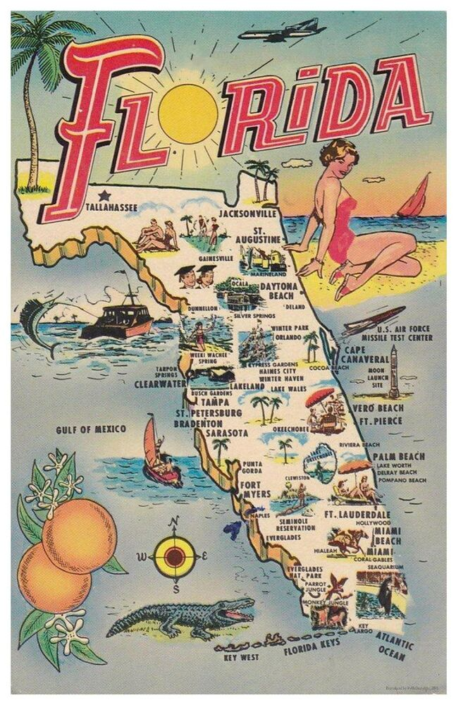 Florida Kitsch Map 11x17 Poster Ebay