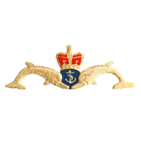 img-Royal Navy RN Submarine Service Cut-Out Dolphins Large Pin Badge - MOD Approved