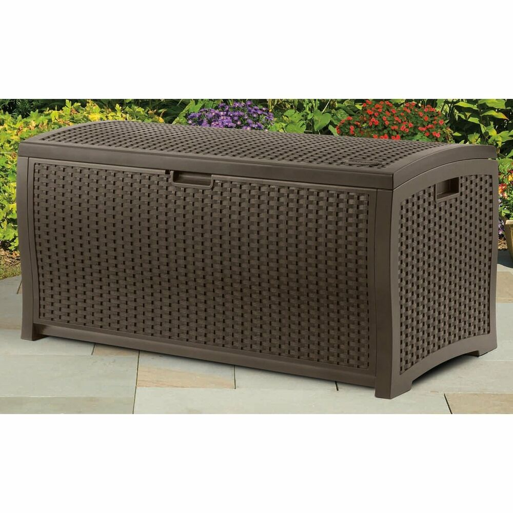 Good Pool Deck Box Patio Outdoor Resin Wicker Storage Chest Trunk Furniture  Cushions | EBay