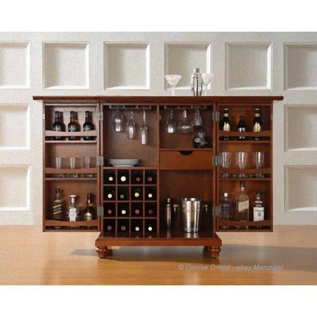 Furniture Stores That Sell Bars: LuxuryExpandable Solid Wood Bar Cabinet Liquor Wine Rack