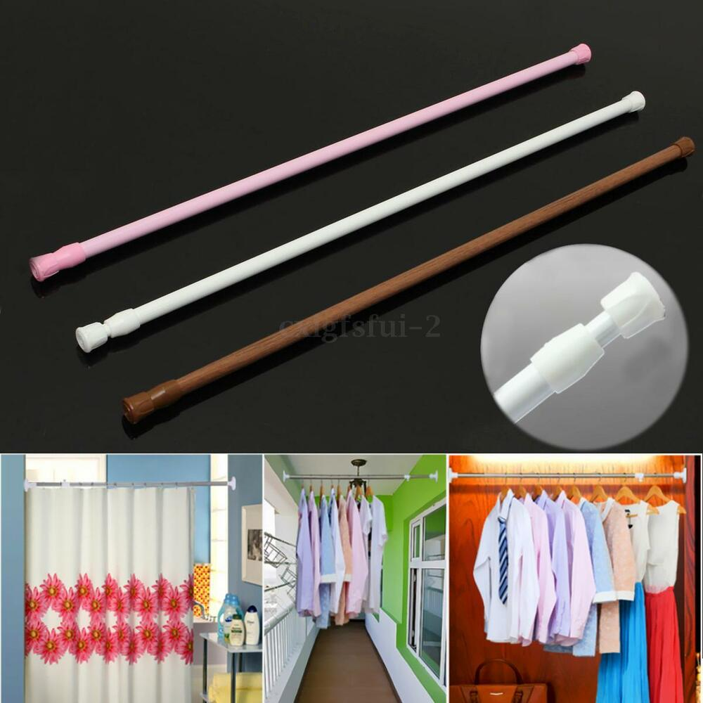 ... Extendable Telescopic Net Voile Tension Curtain Rail Pole Rod Rods