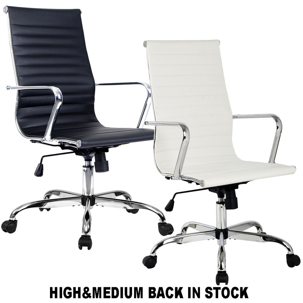 Modern Ergonomic Office Chair Pu Leather High Amp Med Back