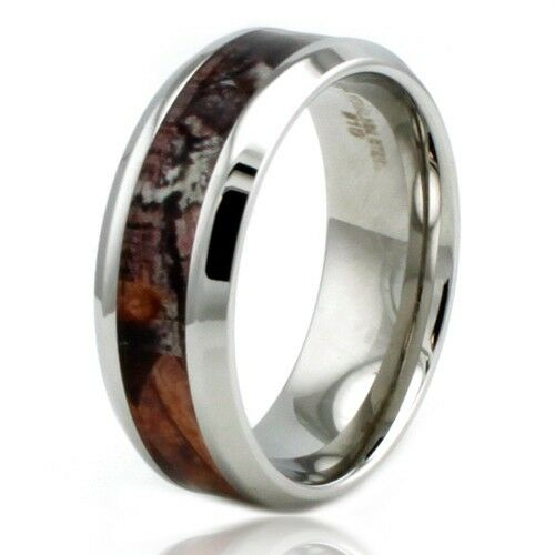 Wedding Band Stainless Steel 8mm: Stainless Steel Forest Hunting Camo Engravable Camouflage