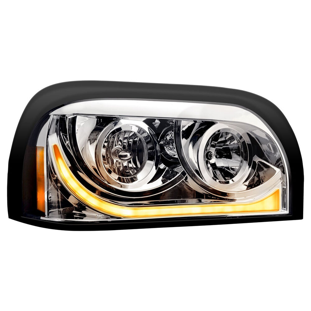 Headlights Assembly Shop: Freightliner Century LED Marker/Turn Chrome Headlight