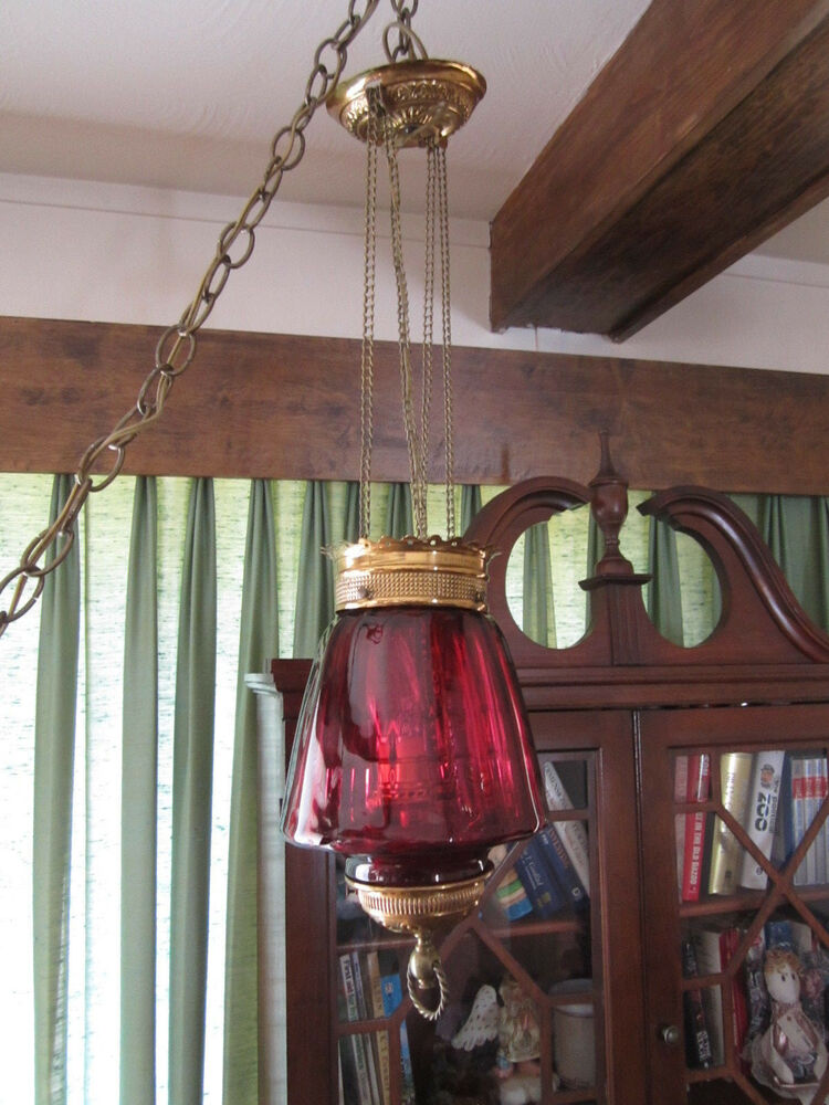 Antique Late 1800 S Brass W Cranberry Glass Hanging Oil