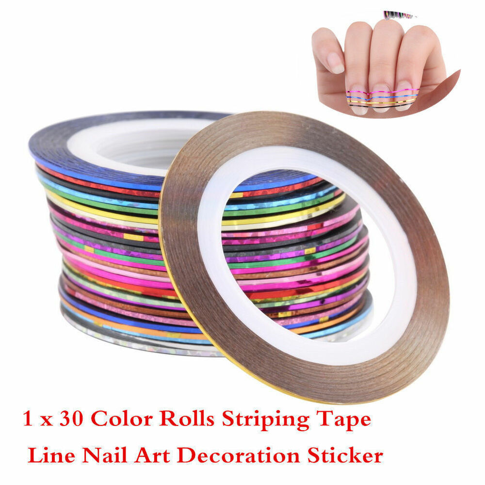 Nail Art Using Striping Tape: 30 Pcs Mixed Colors Rolls Striping Tape Line Nail Art Tips