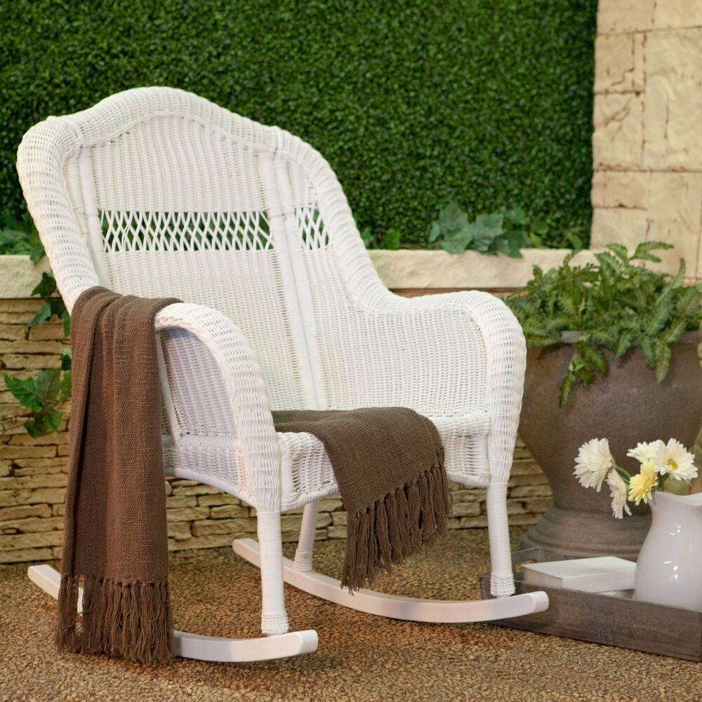 White Outdoor Resin Porch Patio Rocking Chair Furniture Deck Poolside Backyar