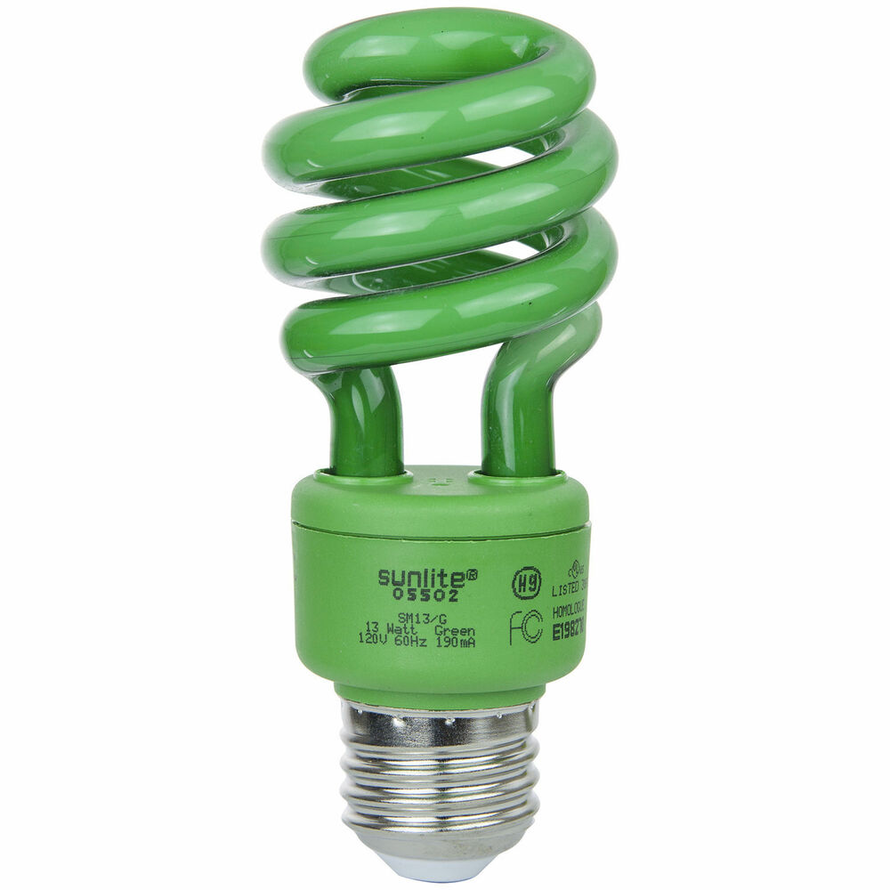 sunlite 13 watt green medium base spiral cfl light bulb ebay. Black Bedroom Furniture Sets. Home Design Ideas