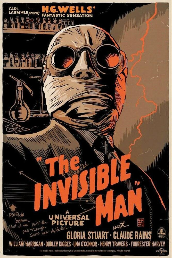 the invisible man 1933 silk fabric movie poster 11quotx17