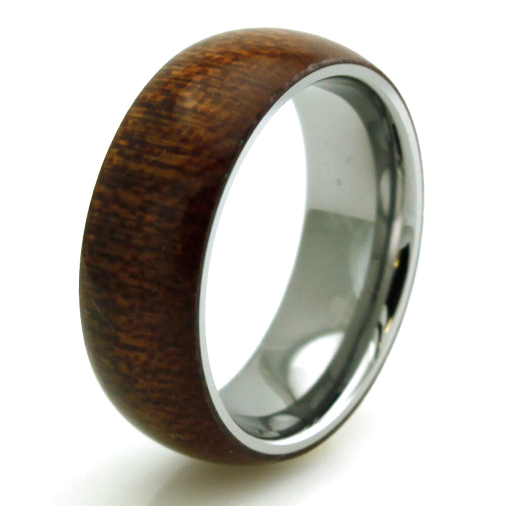 Stainless Steel Mens Wedding Band Ring 8mm: Stainless Steel Mahogany Wood Overlay Engravable Mens
