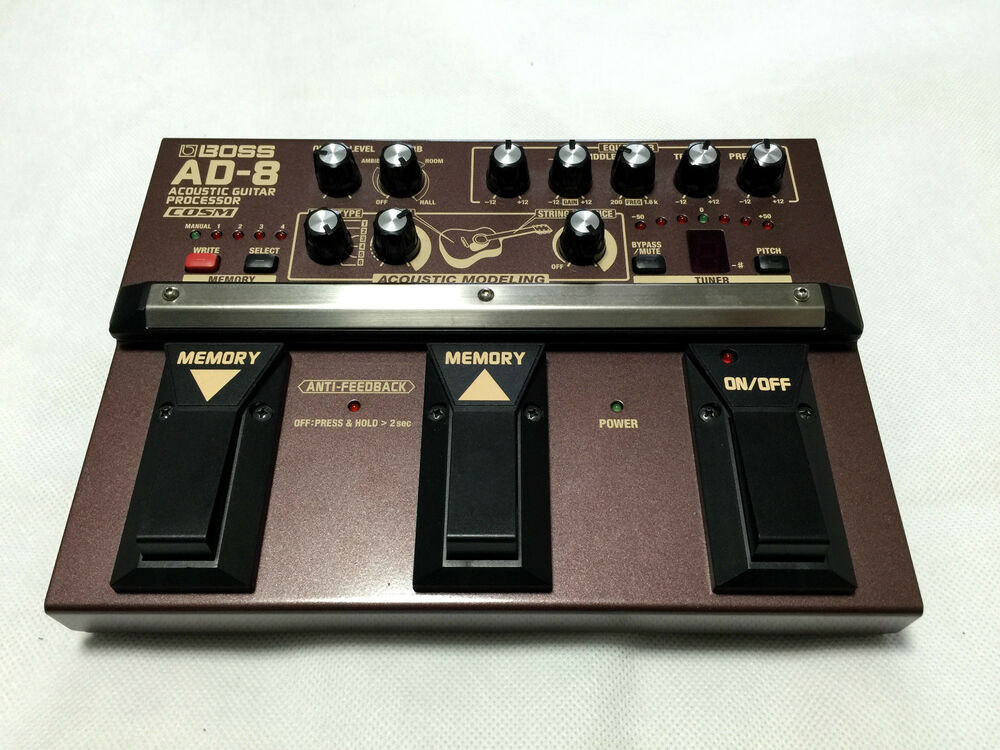 excellent boss ad 8 acoustic guitar processor effects pedal preamp made in japan 761294082331 ebay. Black Bedroom Furniture Sets. Home Design Ideas