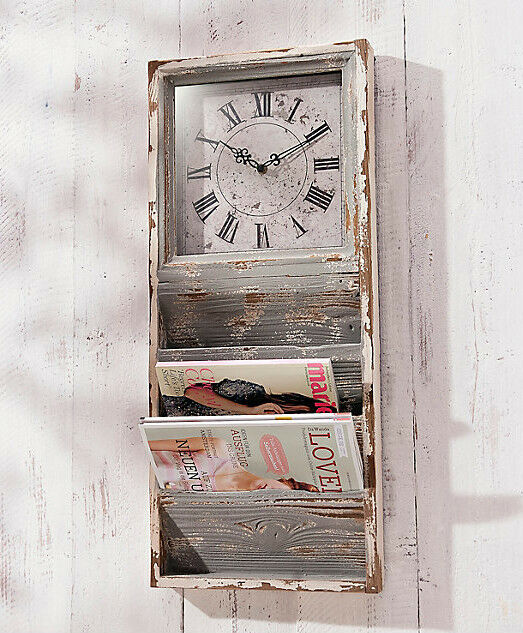 wanduhr mit zeitungsf chern zeitungshalter regal holz vintage shabby chic retro ebay. Black Bedroom Furniture Sets. Home Design Ideas