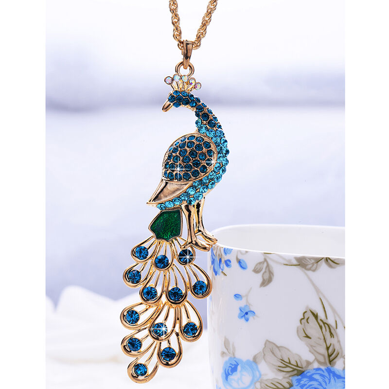 Fashion 18k Gold Plated Crystal Peacock Pendant Necklace