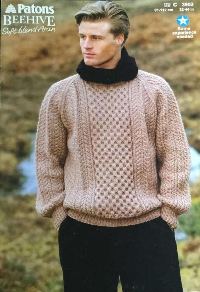 Mens Jumper Knitting Pattern : Patons Aran Knitting Pattern 3903 Mens Sweater Jumper Size Size 32/44