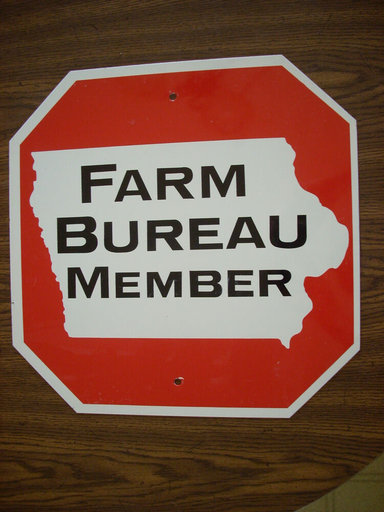 vintage original iowa farm bureau member stop sign seed. Black Bedroom Furniture Sets. Home Design Ideas