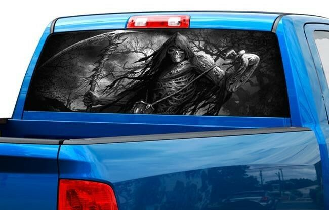 Grim reaper skull color or b w rear window graphic decal for Window graphics