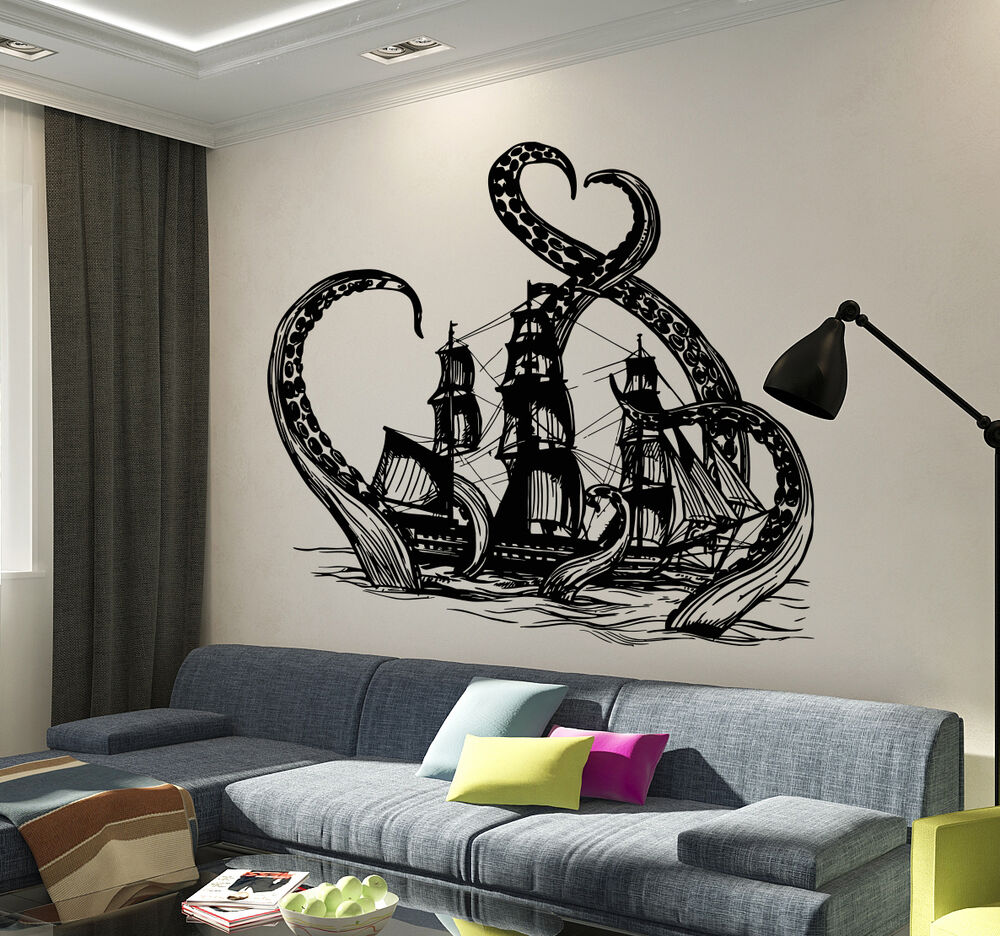 vinyl wall decals vinyl wall decal octopus kraken ship nautical teen 29612