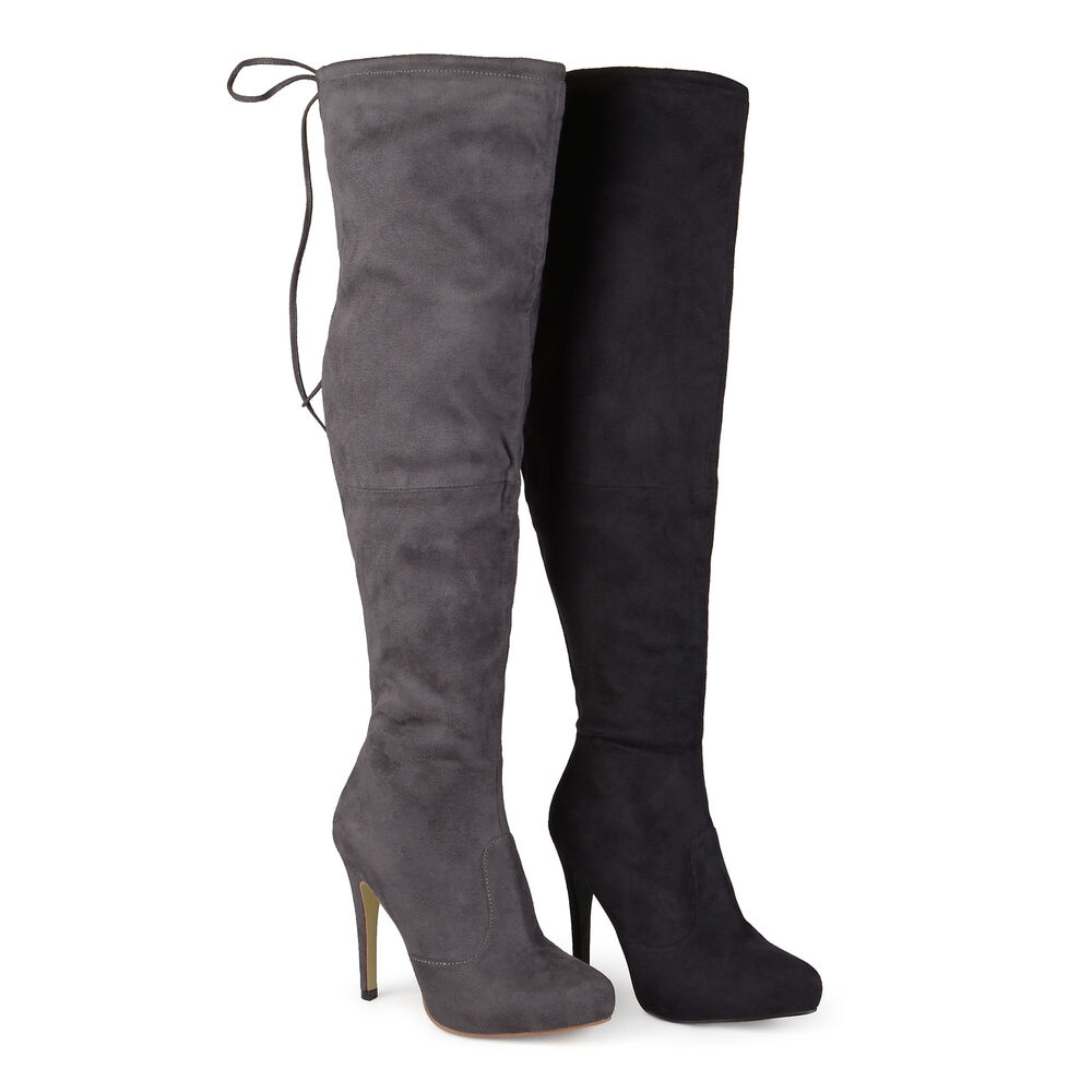 brinley co womens high heel over the knee boots ebay. Black Bedroom Furniture Sets. Home Design Ideas