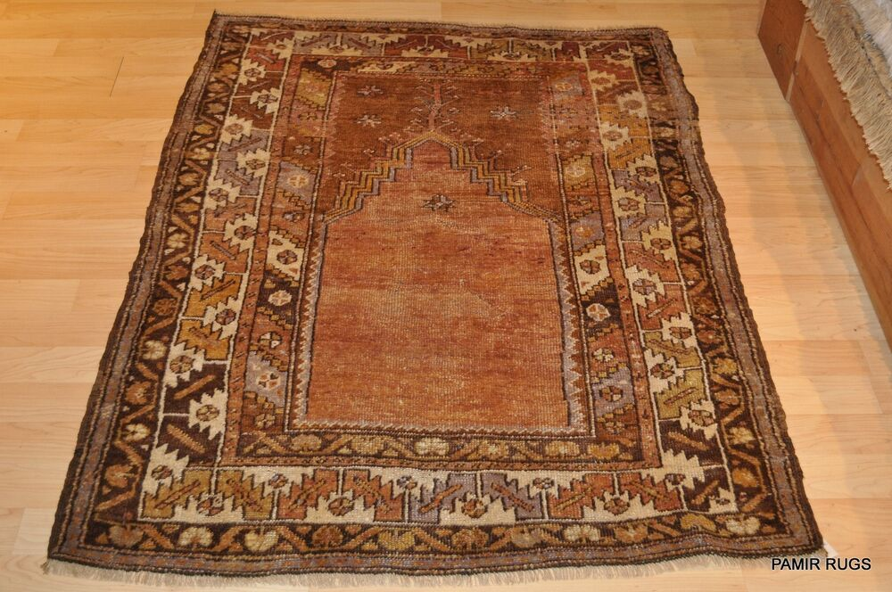 Pre 1900 Antique Turkish Prayer Anatolia Rug 3x5 Copper
