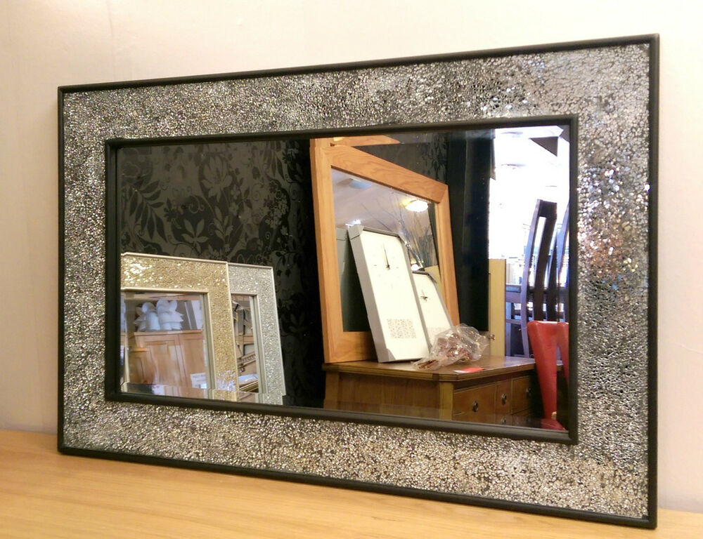 Crackle design wall mirror black frame mosaic glass for Glass mirrors for walls