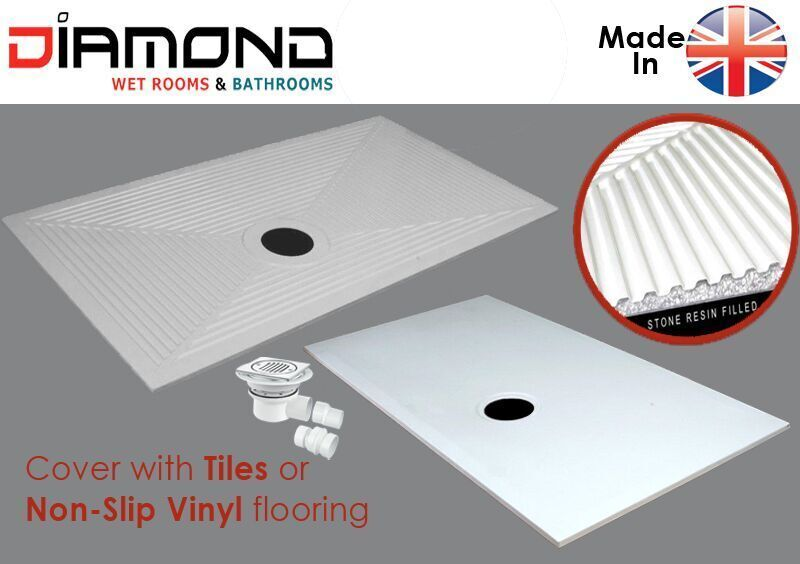 Diamond wet room d5 1350x850 wetroom shower tray wet floor for Wet room shower tray for vinyl