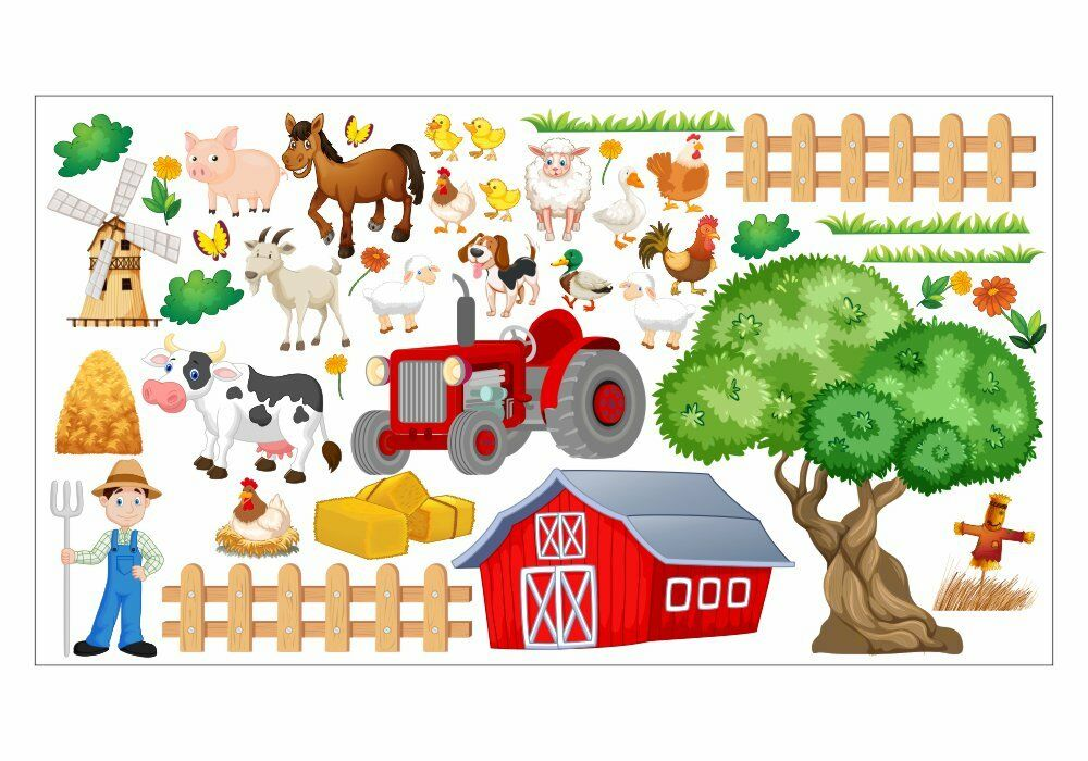 nikima 020 wandtattoo bauernhof traktor farm tiere kuh huhn kinderzimmer farm ebay. Black Bedroom Furniture Sets. Home Design Ideas