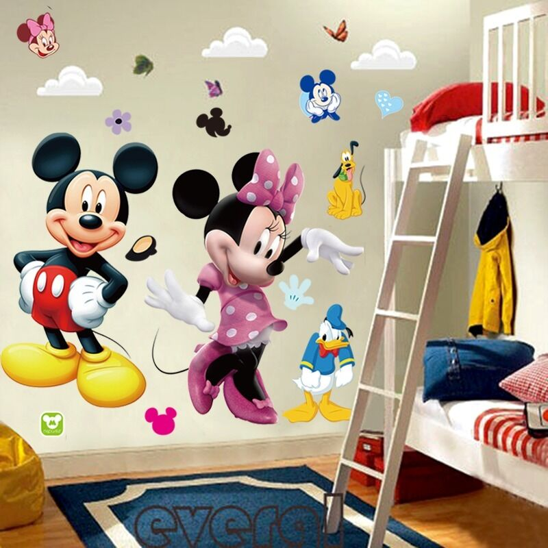 mickey mouse minnie vinyl wall decals sticker kids nursery. Black Bedroom Furniture Sets. Home Design Ideas