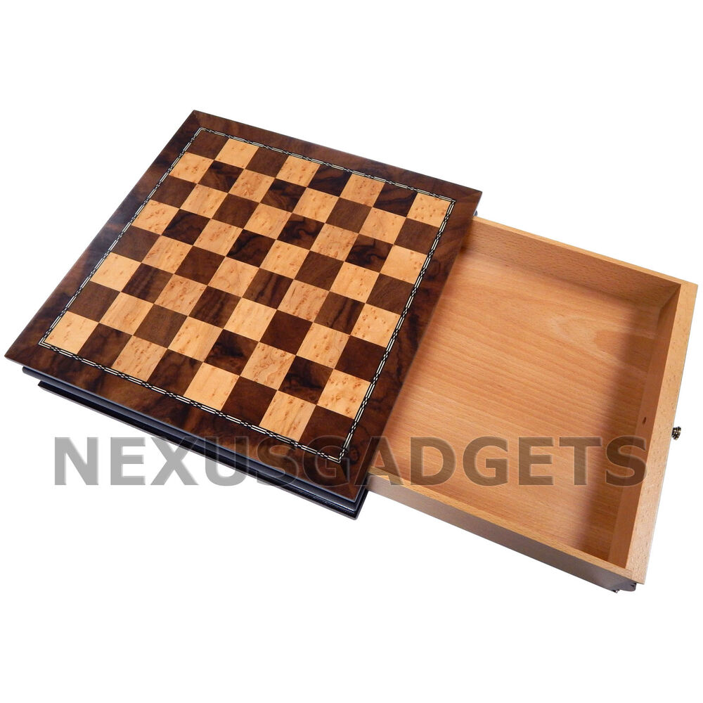 13 Inch Chess Board Game Set Wood Storage Case Cabinet
