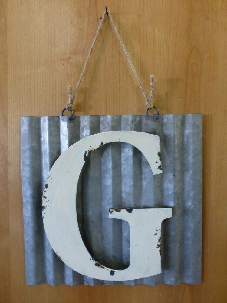 """Laser Cut Metal Signs >> 10"""" CORRUGATED INDUSTRIAL METAL SIGN LETTER """"G"""" WHITE vintage rustic wall decor 