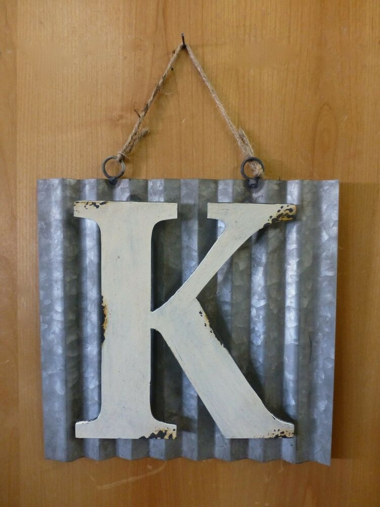 10 corrugated industrial metal sign letter k white for White wall decor