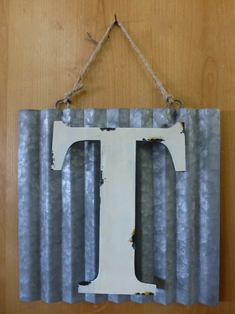 10 corrugated industrial metal sign letter t white for White wall decor