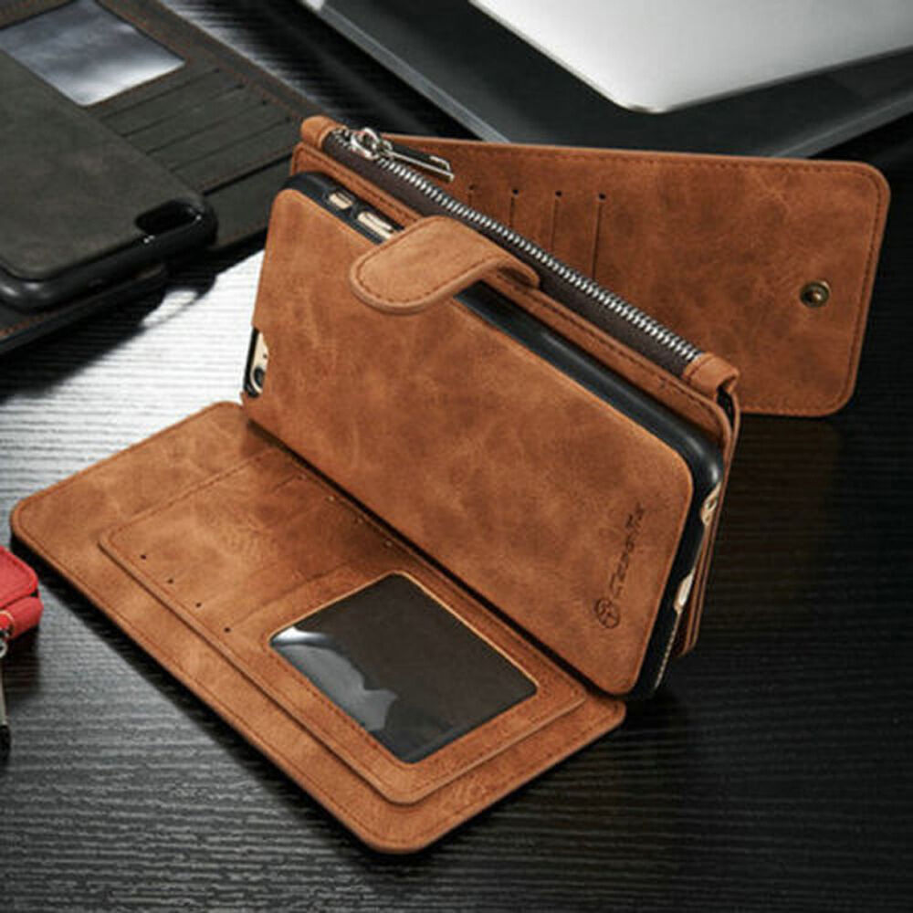 fashion leather removable wallet flip case cover for