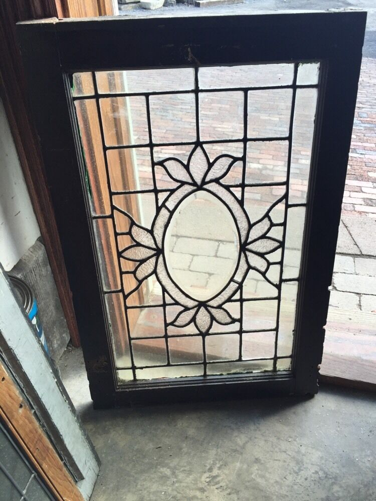 Sg 564 antique textured glass oval beveled glass window ebay for 1900 stained glass window