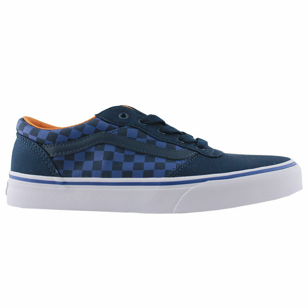023f3fa8361 Details about VANS MILTON BOYS BLUE WHITE CHECKERS JUNIOR SNEAKERS TRAINERS SKATE  SHOES