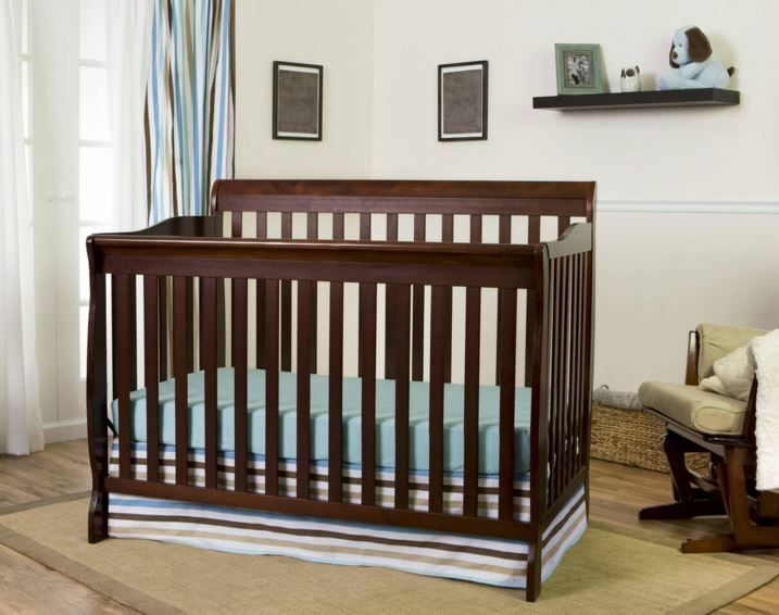 5 in 1 convertible baby crib bonus mattress toddler full. Black Bedroom Furniture Sets. Home Design Ideas