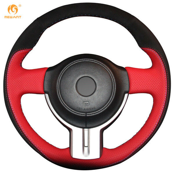 red leather black suede steering wheel cover wrap for. Black Bedroom Furniture Sets. Home Design Ideas