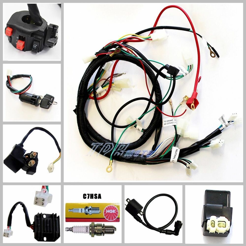 full electrics wiring harness cdi coil key 150cc gy6 atv. Black Bedroom Furniture Sets. Home Design Ideas